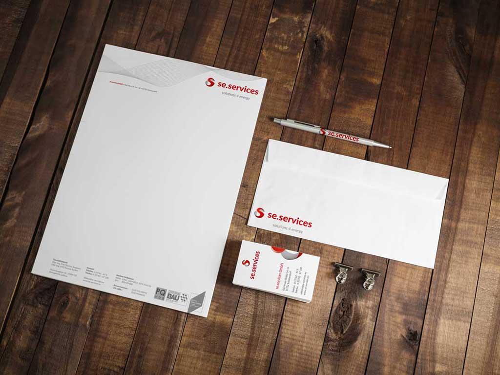 se.services Geschäftsausstattung Briefbogen Visitenkarte